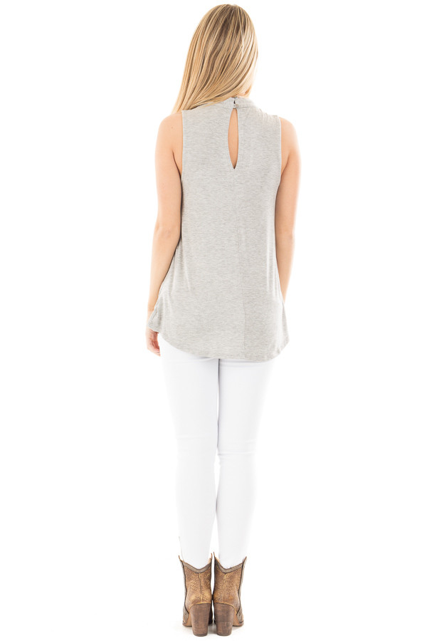 Heather Grey Sleeveless Top with Crossover V Neck Detail back full body