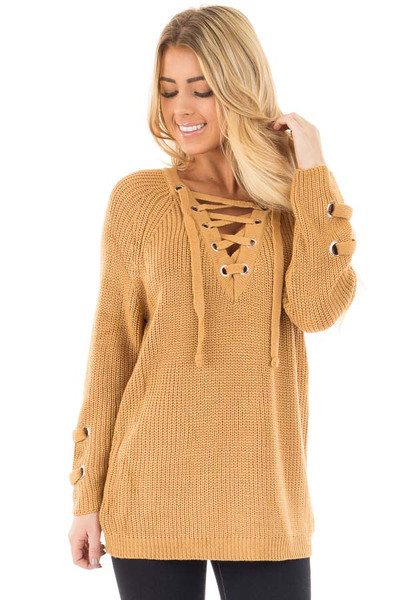 Mustard Long Sleeve Knit Sweater with Lace Up Details front close up