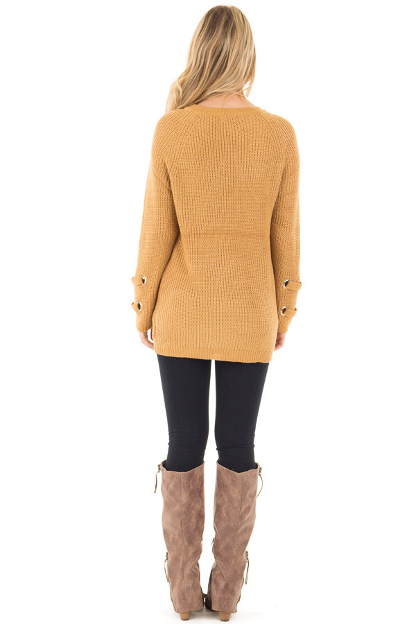 Mustard Long Sleeve Knit Sweater with Lace Up Details back full body