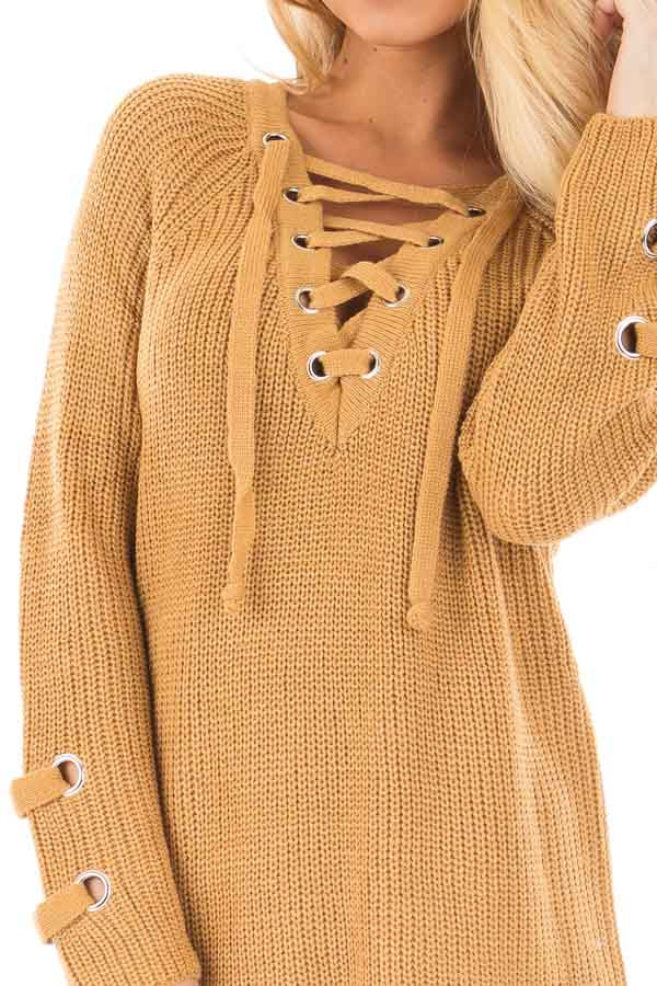 Mustard Long Sleeve Knit Sweater with Lace Up Details detail