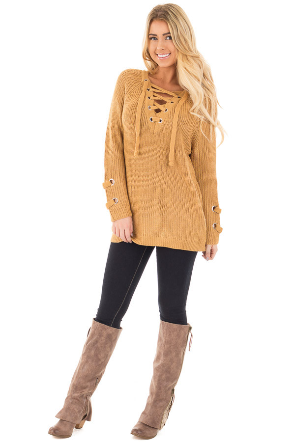 Mustard Long Sleeve Knit Sweater with Lace Up Details front full body