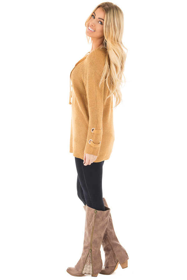Mustard Long Sleeve Knit Sweater with Lace Up Details side full body