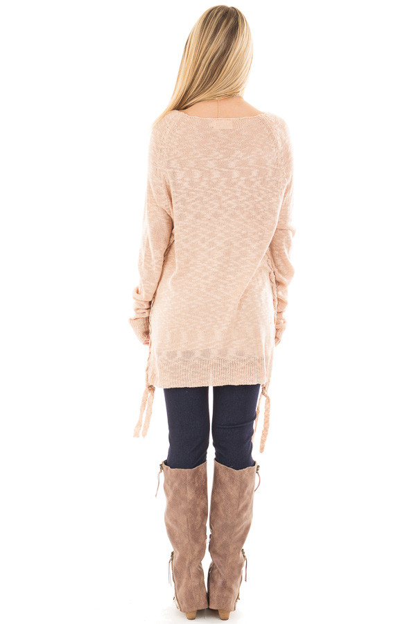Dusty Pink Sheer Knit Sweater with Lace Up Sides back full body
