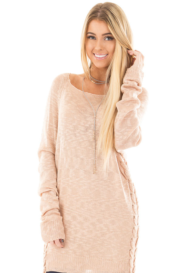Dusty Pink Sheer Knit Sweater with Lace Up Sides front close up