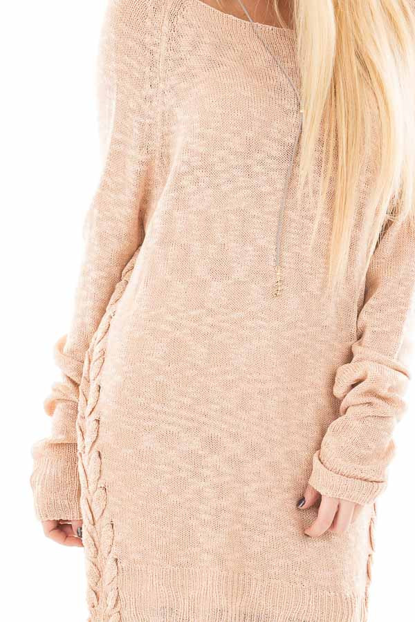 Dusty Pink Sheer Knit Sweater with Lace Up Sides detail