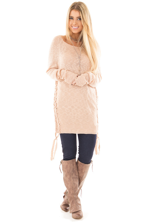 Dusty Pink Sheer Knit Sweater with Lace Up Sides front full body