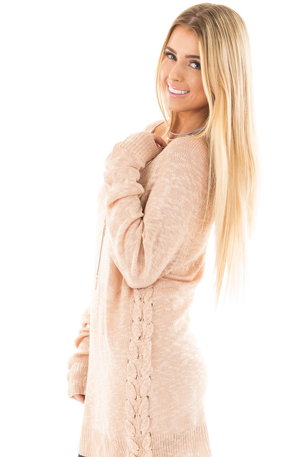 Dusty Pink Sheer Knit Sweater with Lace Up Sides - Lime Lush Boutique