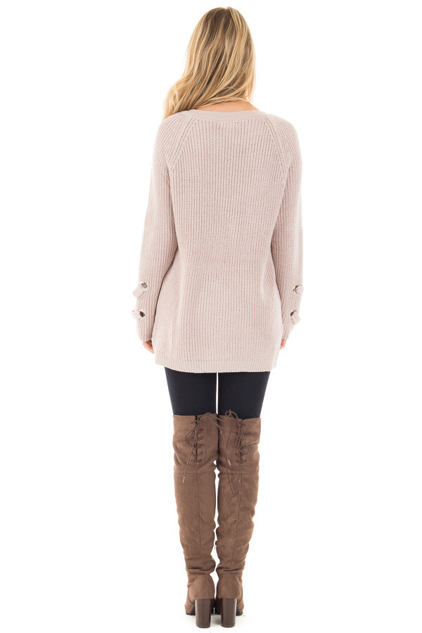 Mauve Long Sleeve Knit Sweater with Lace Up Details back full body