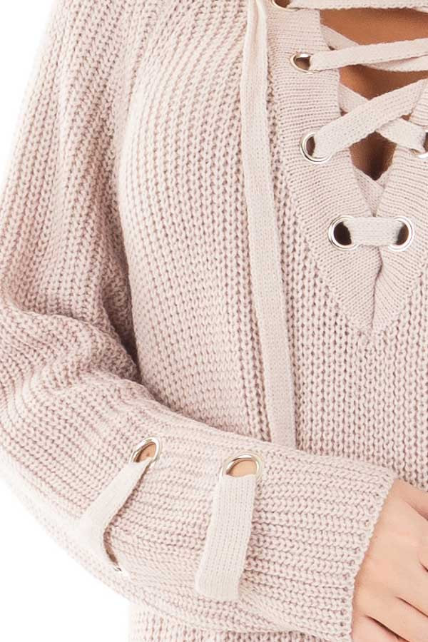 Mauve Long Sleeve Knit Sweater with Lace Up Details detail