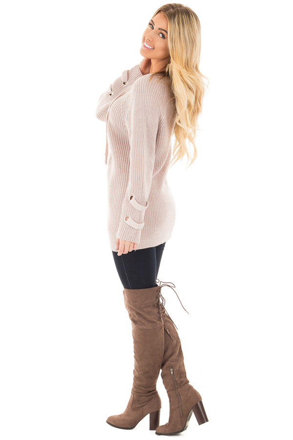 Mauve Long Sleeve Knit Sweater with Lace Up Details side full body