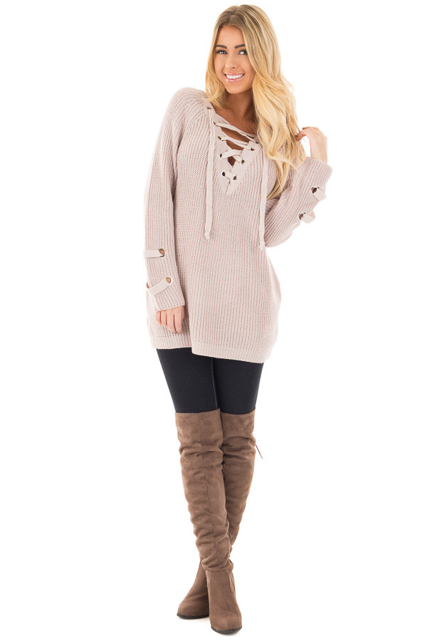 Mauve Long Sleeve Knit Sweater with Lace Up Details front full body