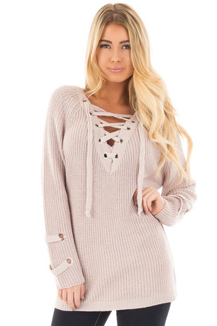 Mauve Long Sleeve Knit Sweater with Lace Up Details front close up