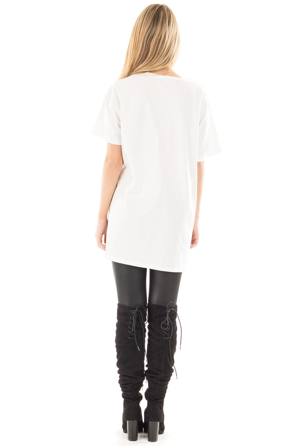 Off White Tee with Black Deep V Neck Strap Detail back full body
