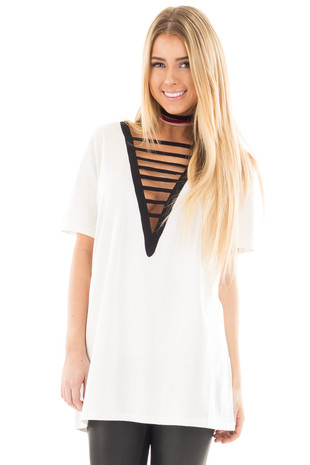 Off White Tee with Black Deep V Neck Strap Detail front close up
