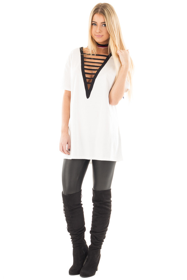 Off White Tee with Black Deep V Neck Strap Detail front full body