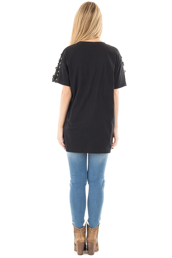 Black Tee with Lace Up Short Sleeves back full body