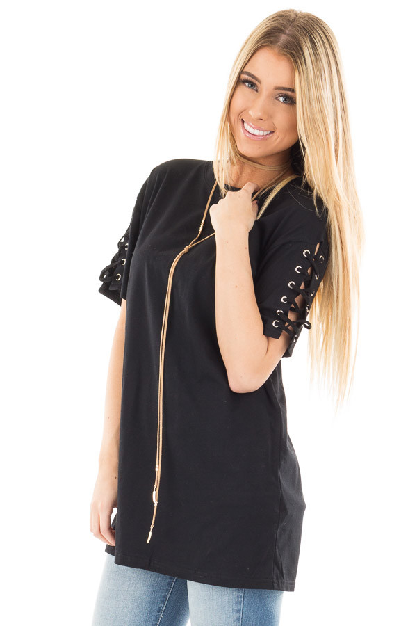 Black Tee with Lace Up Short Sleeves front close up