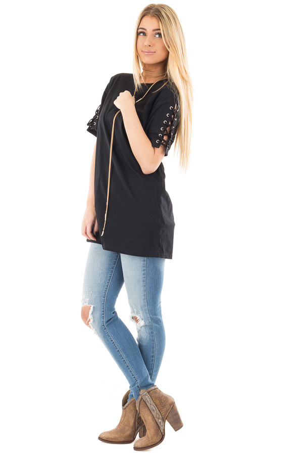 Black Tee with Lace Up Short Sleeves front side full body