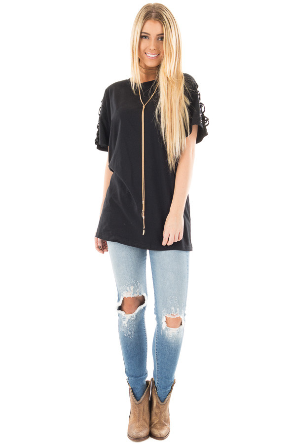 Black Tee with Lace Up Short Sleeves front full body