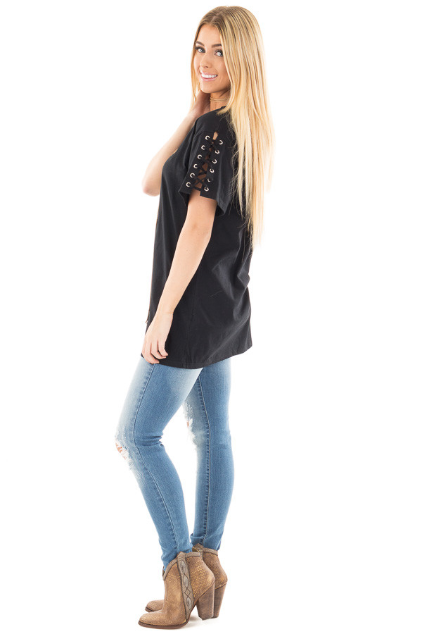 Black Tee with Lace Up Short Sleeves side full body