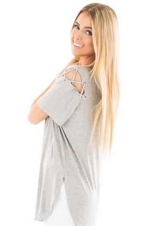 Heather Grey V Neck Tee with Laced Shoulder Details side close up