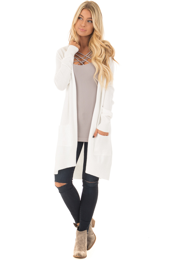 Off White Super Soft Open Cardigan with Pockets front full body