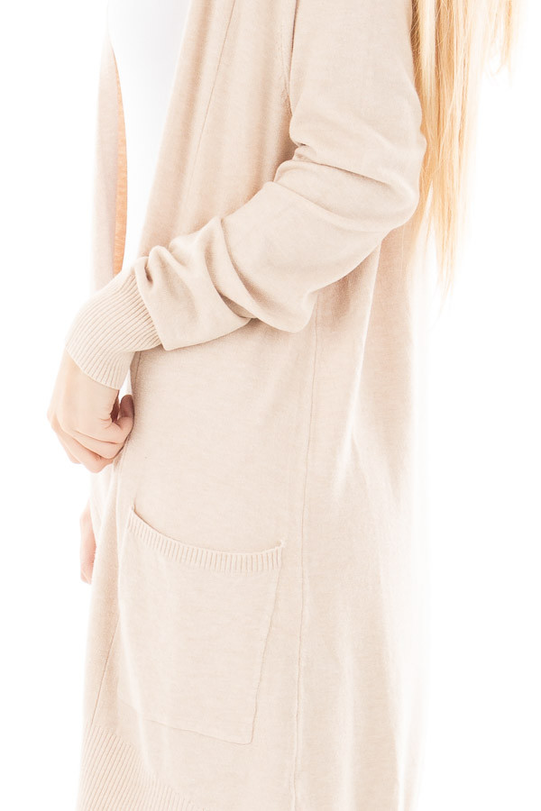 Oatmeal Super Soft Open Cardigan with Pockets detail