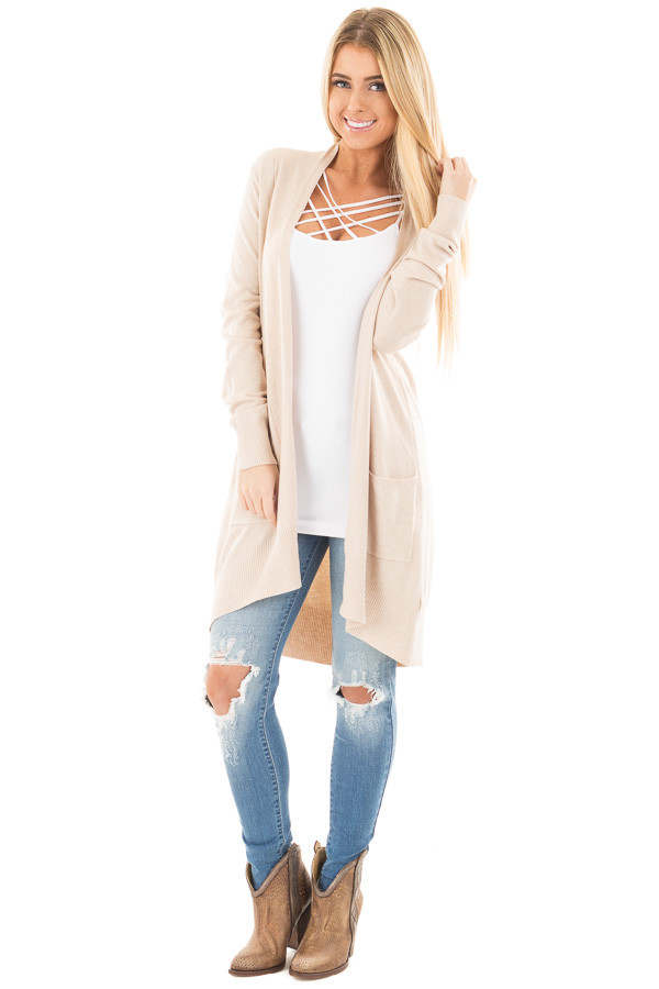 Oatmeal Super Soft Open Cardigan with Pockets front full body
