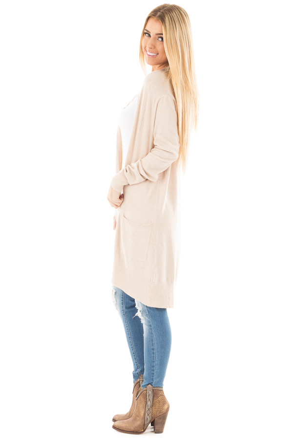 Oatmeal Super Soft Open Cardigan with Pockets side full body