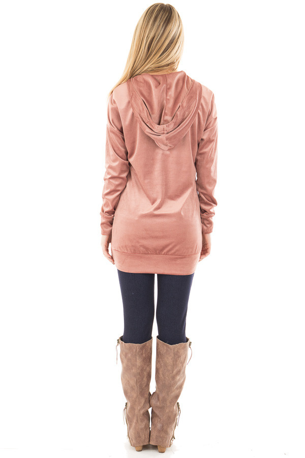 Dusty Rose Long Sleeve Velour Hoodie with Lace Up Detail back full body