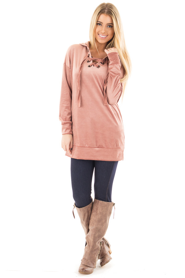 Dusty Rose Long Sleeve Velour Hoodie with Lace Up Detail front full body
