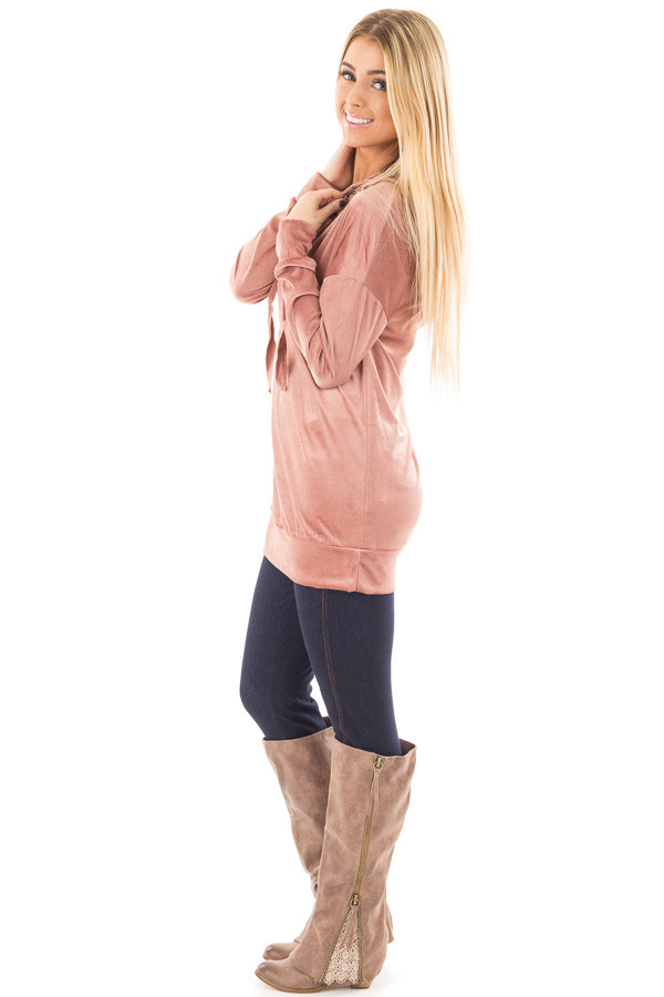 Dusty Rose Long Sleeve Velour Hoodie with Lace Up Detail side full body