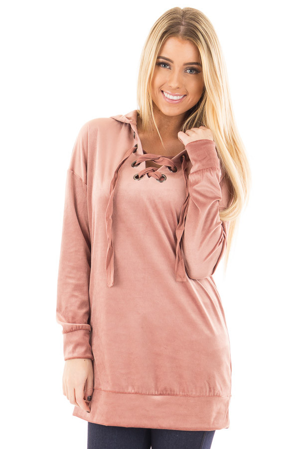 Dusty Rose Long Sleeve Velour Hoodie with Lace Up Detail front close up