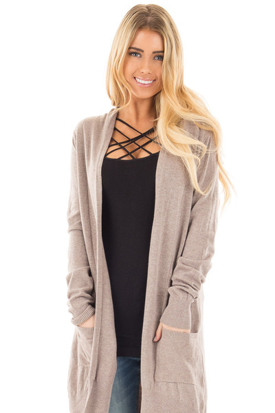Mocha Super Soft Open Cardigan with Pockets front close up