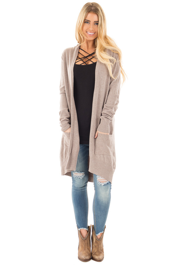 Mocha Super Soft Open Cardigan with Pockets front full body