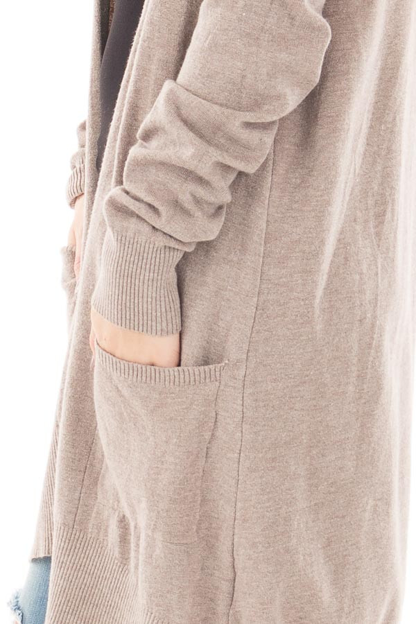 Mocha Super Soft Open Cardigan with Pockets detail