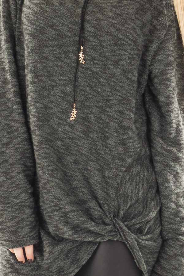 Forest Green Two Tone Knit Sweater with Twist Detail detail