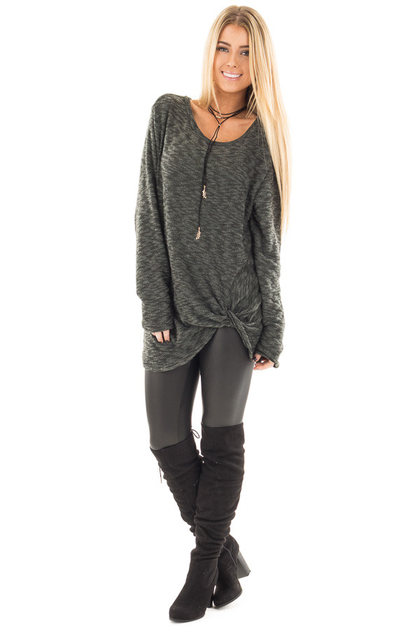 Forest Green Two Tone Knit Sweater with Twist Detail front full body