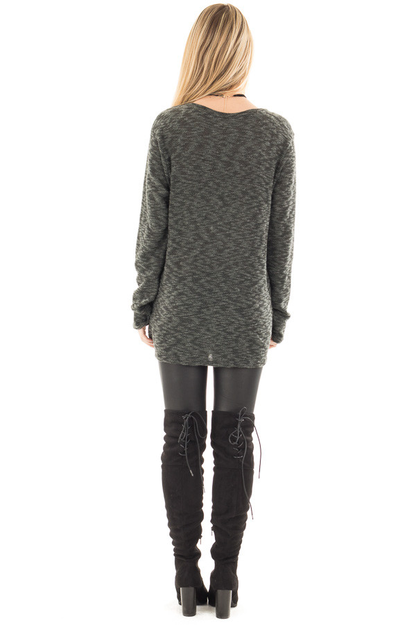 Forest Green Two Tone Knit Sweater with Twist Detail back full body