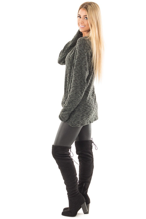 Forest Green Two Tone Knit Sweater with Twist Detail side full body