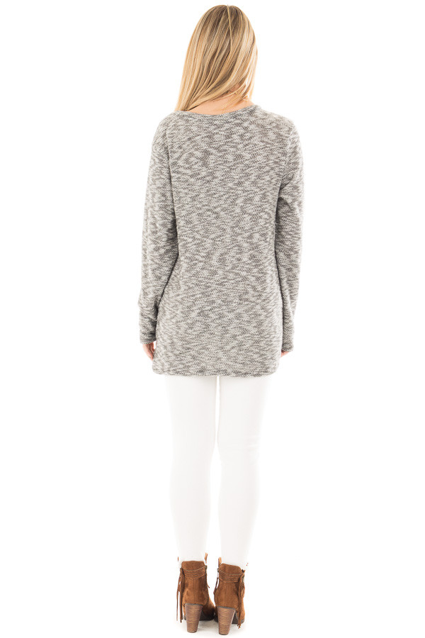 Heather Grey Two Tone Knit Sweater with Twist Detail back full body