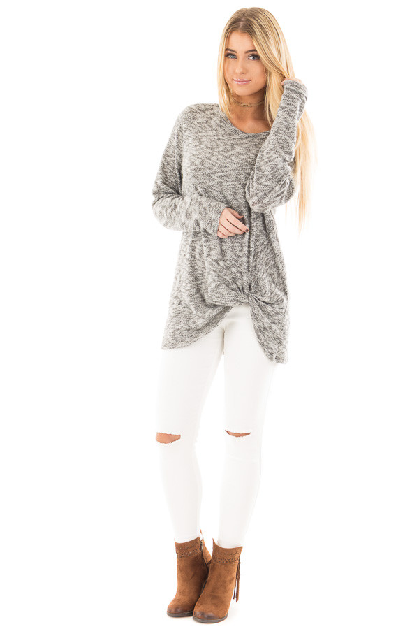 Heather Grey Two Tone Knit Sweater with Twist Detail front full body