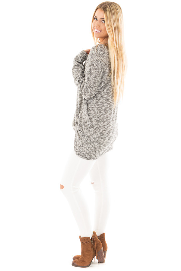 Heather Grey Two Tone Knit Sweater with Twist Detail side full body