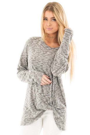 Heather Grey Two Tone Knit Sweater with Twist Detail front close up