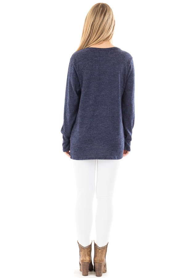 Navy Two Tone Knit Sweater with Twist Detail back full body
