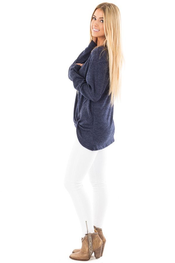 Navy Two Tone Knit Sweater with Twist Detail side full body