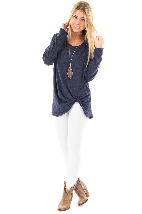 Navy Two Tone Knit Sweater with Twist Detail front full body
