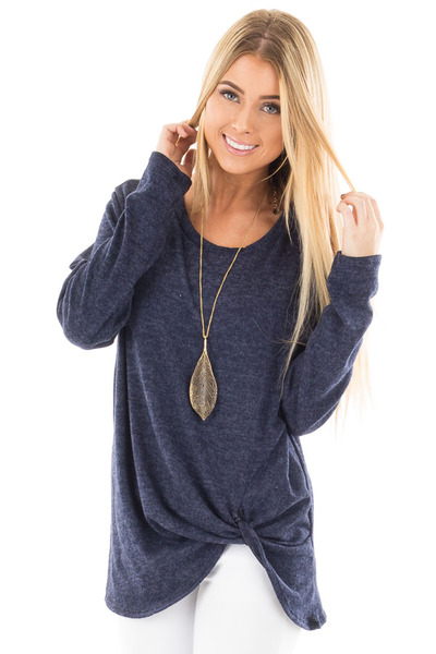 Navy Two Tone Knit Sweater with Twist Detail front close up