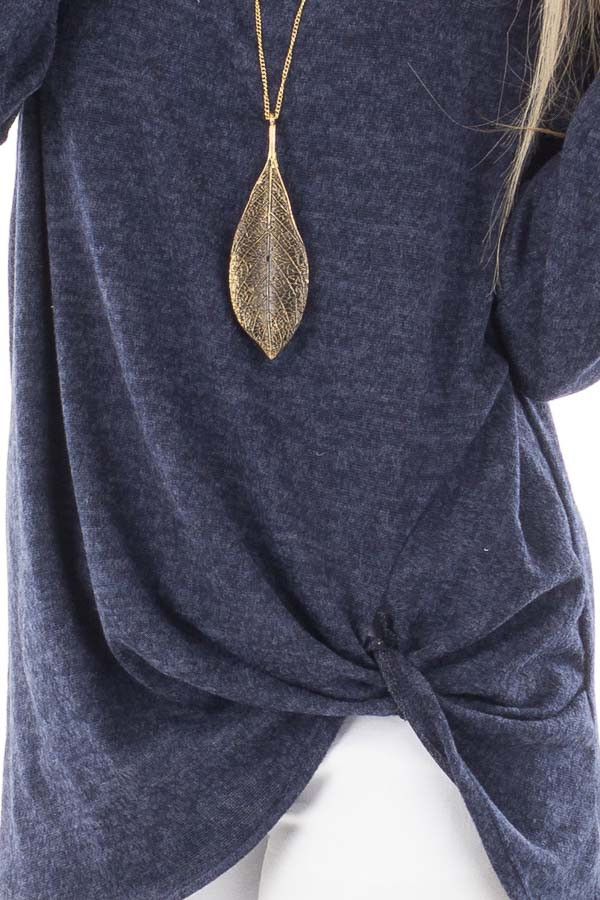 Navy Two Tone Knit Sweater with Twist Detail detail
