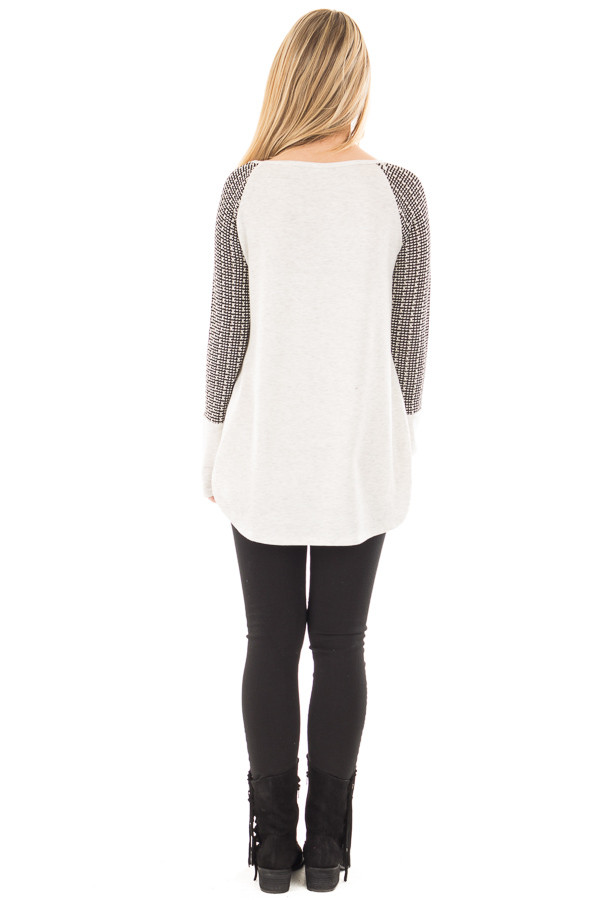 Light Grey Hi-Low Raglan Sleeve Top with Knit Front Pocket Detail back full body